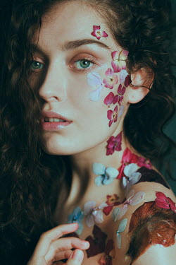 Alisa Andrei WOMAN WITH FLOWERS ON FACE NECK AND SHOULDER Women