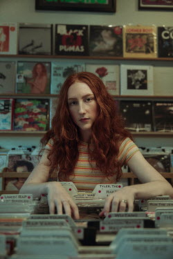 Alisa Andrei GIRL WITH RED HAIR STANDING IN RECORD SHOP Women