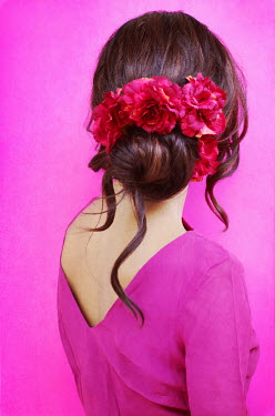Irene Lamprakou WOMAN IN PINK WITH FLOWERS IN HAIR Women