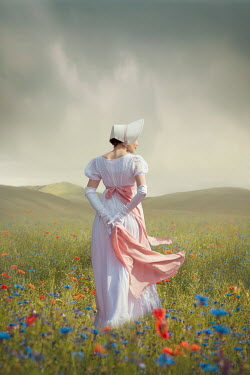 Joanna Czogala REGENCY WOMAN WITH BONNET IN SUMMERY FIELD Women