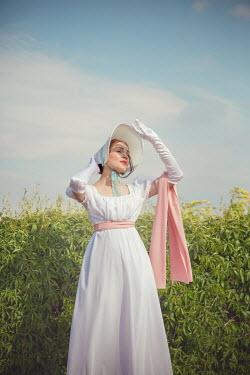 Joanna Czogala REGENCY WOMAN SHIELDING EYES FROM SUN IN GARDEN Women