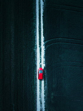 Magdalena Russocka red car on road in fields from above