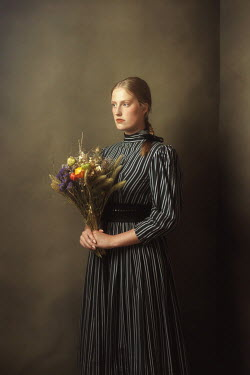 Ysbrand Cosijn Young woman in striped dress with bouquet
