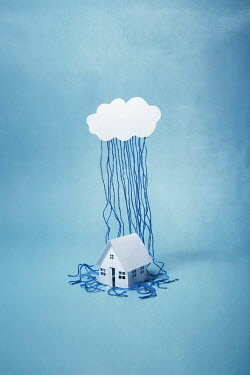Catherine Macbride Paper house and cloud with wool rain