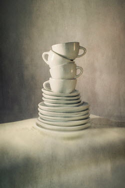 Catherine Macbride Stack of saucers and tea cups