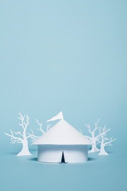 Catherine Macbride Paper circus tent and trees