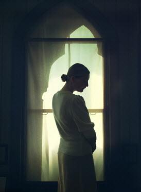 Mark Owen BLONDE WOMAN STANDING IN PROFILE BY WINDOW Women