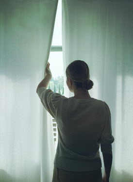 Mark Owen WOMAN PEEPING THOUGHT CURTAINS AT WINDOW Women