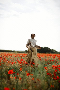 Shelley Richmond BLACK WOMAN WALKING IN POPPY FIELD Women