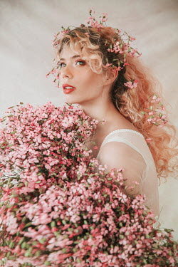 Jovana Rikalo BLONDE WOMAN COVERED IN PINK FLOWERS Women