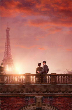 Lee Avison 1940s couple in paris at sunset
