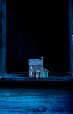 Stephen Mulcahey MINIATURE HOUSE ON SHELF AT NIGHT Miscellaneous Objects