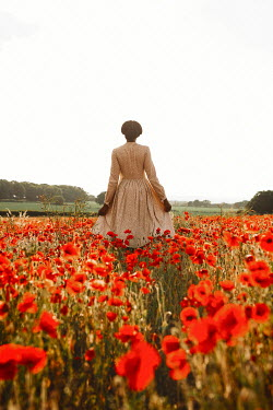 Shelley Richmond BLACK WOMAN STANDING IN POPPY FIELD Women
