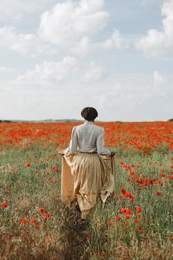 Shelley Richmond BLACK WOMAN WALKING IN POPPY FIELD Women