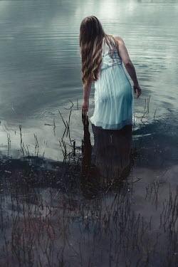 Shelley Richmond BLONDE GIRL STANDING IN CALM WATER Women