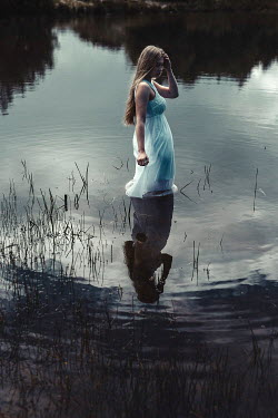 Shelley Richmond BLONDE GIRL STANDING IN CALM WATER Women
