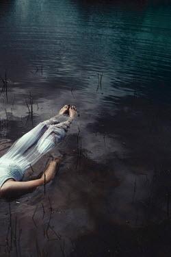 Shelley Richmond WOMAN IN SILK DRESS FLOATING IN RIVER Women