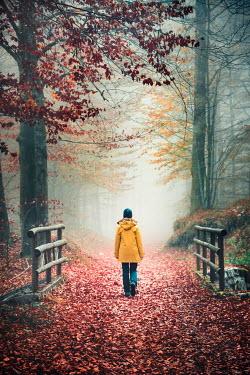 Evelina Kremsdorf WOMAN IN RAINCOAT WALKING IN AUTUMN FOREST Women