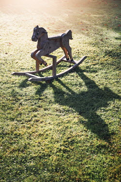 Evelina Kremsdorf ROCKING HORSE ON SUNLIT GRASS IN GARDEN Miscellaneous Objects