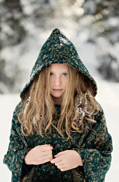 Jaime Brandel LITTLE BLONDE GIRL WITH HOOD OUTDOORS IN SNOW Children