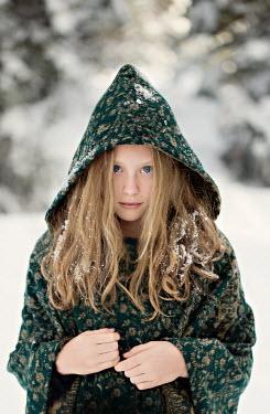 Jaime Brandel LITTLE BLONDE GIRL WITH HOOD OUTDOORS IN SNOW Children