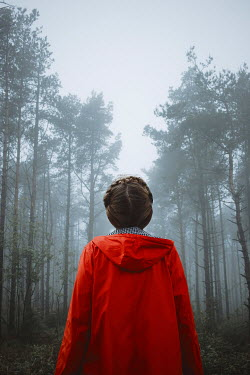 Shelley Richmond GIRL IN RED ANORAK IN MISTY FOREST Women