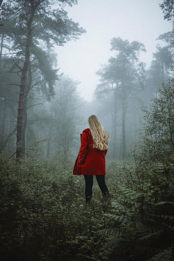 Shelley Richmond BLONDE WOMAN WITH RED JACKET IN MISTY FOREST Women