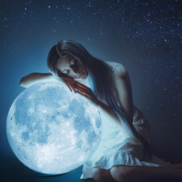 Anya Anti SAD GIRL LEANING ON GLOWING MOON Women