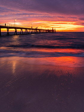 Trevor Payne PEOPLE ON PIER AT SUNSET Seascapes/Beaches