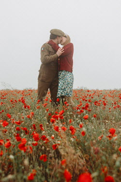 Shelley Richmond WARTIME COUPLE KISSING IN POPPY FIELD Couples