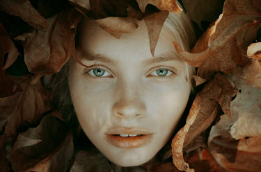 Michelle De Rose FEMALE FACE SURROUNDED BY AUTUMN LEAVES Women