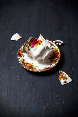 Miguel Sobreira BROKEN FLORAL TEACUP ON SAUCER Miscellaneous Objects
