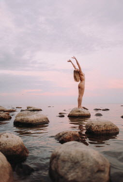 Daniil Kontorovich NAKED WOMAN ON ROCK BY LAKE AT SUNSET Women