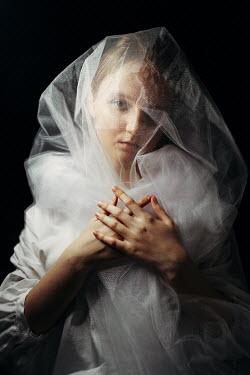 Daniil Kontorovich SAD WOMAN COVERED WITH WHITE VEIL Women