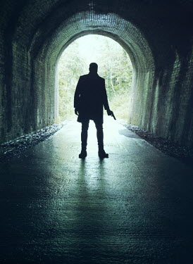 Mark Owen SILHOUETTED MAN HOLDING IN TUNNEL Men