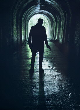Mark Owen SILHOUETTED MAN WITH GUN IN TUNNEL Men