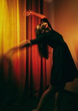 Daniil Kontorovich WOMAN DANCING BY CURTAINS INDOORS Women