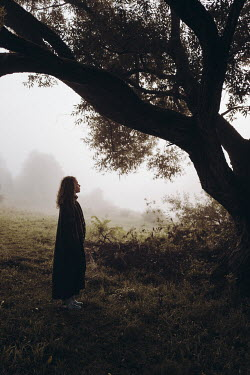 Daniil Kontorovich WOMAN WATCHING TREE IN FOGGY COUNTRYSIDE Women