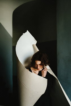 Daniil Kontorovich WOMAN WRAPPED IN PAPER INDOORS Women