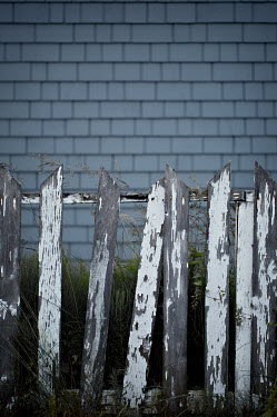 Jaime Brandel WEATHERED WHITE FENCE WITH TILED WALL Gates