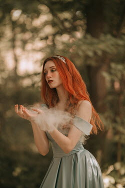 Jovana Rikalo WOMAN WITH RED HAIR WITH SMOKE IN COUNTRYSIDE Women