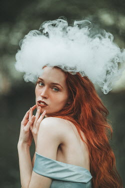 Jovana Rikalo WOMAN WITH RED HAIR AND CLOUD ON HEAD Women