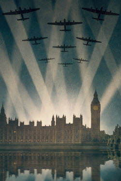 Lee Avison world war two bombers over london with searchlights