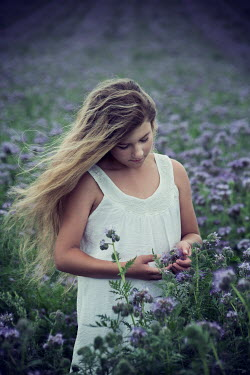Carmen Spitznagel YOUNG BLONDE GIRL IN FIELD OF PURPLE FLOWERS Children
