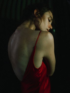 Daniil Kontorovich SAD GIRL IN RED DRESS WITH BARE SHOULDERS Women