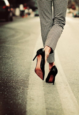 Irene Lamprakou WOMAN IN STILETTOS IN STREET Women