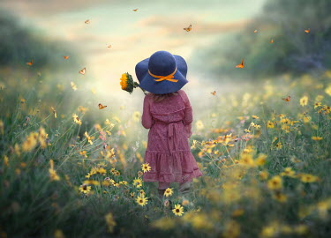 Jessica Drossin LITTLE GIRL HOLDING SUNFLOWER WITH BUTTERFLIES Children