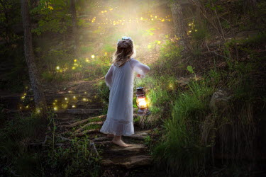 Jessica Drossin LITTLE GIRL WITH LANTERN WATCHING GLOW WORMS, Children