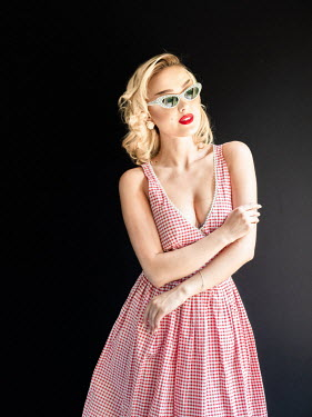 Elisabeth Ansley BLONDE GIRL IN GINGHAM DRESS WITH SUNGLASSES Women