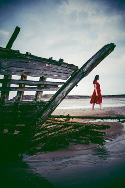 Marie Carr WOMAN WALKING ON BEACH BY SHIPWRECK Women